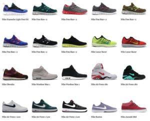 Виды кроссовок Nike